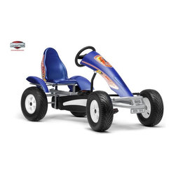 Berg USA - Berg USA Racing GT Pedal Go Kart - 03.55.82.00 - Shop for Go Karts from Hayneedle.com! The body and style of the Berg USA Racing GT Riding Toy is so realistic that your child may want to do a back-flip off the hood every time they win a race. We can't really recommend that but we're all for the racing design of this sport pedal-powered titan. On top of a welded metal frame is a molded-plastic seat that's adjustable making sure that the little guy's feet are in just the right place to take advantage of the pedals. Once they do they will enjoy the AF hub that allows them to pedal forward or in reverse. They can even stop by using the hand brake so that their feet won't ever have to leave the pedals. Air-filled rubber tires have a road tread that keeps them safely on the ground. This toy has a weight of 104 lbs and is recommended for children ages 5 and up. Adults under 6-ft. and 285 lbs. can also ride comfortably.Additional FeaturesAF (automatic freewheel) hub for easy pedal controlSealed-bearing wheels for speedy rollingHand brakeRear wheel mud guards and chain cover for safetyDashboard decals include speedometerMolded-plastic coordinating sport seatCompact upright storageAbout Berg USAFounded in 2010 Berg USA is quickly becoming a recognized name in children's riding toys with their innovative designs and attention to safety that don't get in the way of their dedication to providing outdoor exercise for both kids and adults. Berg USA designs and offers a wide variety of high-quality pedal go-karts for home or commercial use ranging in size to comfortably accommodate ages 2 through adult as well as their versatile line of MOOV construction kits.Please note this product does not ship to Pennsylvania.