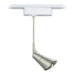 """Tech Lighting - Scania Metal 6"""" Tech Pendant for Lightolier Track Systems - The Scania is a clean European-inspired pendant head that features a metal plated finish. The head rotates 360 degrees and pivots 180 degrees to direct the beam. Includes snap louver lens holder which holds a single lens or louver (sold separately). Included track adapter lets you connect this pendant to Lightolier track lighting systems. Includes a built-in 12 volt transformer that's concealed in the white finish housing. Made by Tech Lighting for use with Lightolier track systems. For use with Lightolier line voltage track systems. Metal plated finish. Fully adjustable head. White finish adapter housing. Built-in 12V transformer. Takes one 50 watt MR16 halogen bulb (not included). Hangs 6"""" high. Head is 4 3/4"""" long. Adapter is 6"""" wide 1 3/4"""" high.  For use with Lightolier track systems.  Metal plated finish.   Fully adjustable head.   Design by Tech Lighting.  White finish adapter housing.   Built-in 12V transformer.   Takes one 50 watt MR16 halogen bulb (not included).   Hangs 6"""" high.   Head is 4 3/4"""" long.  Adapter is 6"""" wide 1 3/4"""" high."""