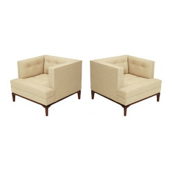 Tufted Linen and Walnut Lounge Chairs