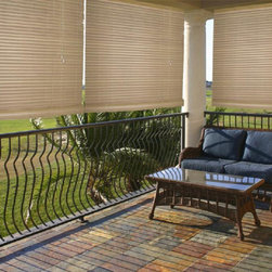 None - Malibu Cream Outdoor/ Indoor Roll-up Shade - The Malibu outdoor/indoor roll-up shade installs easily and is ideal for porches, gazebos and sunrooms. Light filtering provides privacy and energy-efficient insulation qualities.