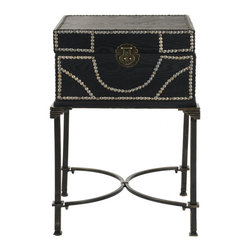 Safavieh - Anthony End Table - A modern take on the steamer trunk, the Anthony end table, crafted from dark brown birch wood, rests atop sturdy metalwork legs. The top opens up for bedside storage, while a lock and nailhead trim add an interesting textural detail to this transitional piece.