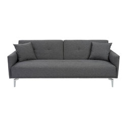 Euro Style - Euro Style Lafau Sofa Bed With Armrest 06002DKGRY - Versatile and sophisticated don't always come in one piece. But the Lafau has removable armrests that dramatically change the look, and polished steel legs and large matching cushions are timeless. Time for a little entertaining, Manhattan style?