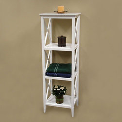 "RiverRidge Home Products - X-Frame Bathroom Towel Tower - Features: -Bathroom towel tower. -Available in: -White finish. -Espresso finish. . -Painted E2 grade MDF and solid pine wood construction. -Perfect for additional shelf space. -Can be used in the bathroom or any other room in the house. -Has three open shelves and top shelf for plenty of storage space. -Modern and clean X-frame design. -Wipe clean with damp cloth. Specifications: -Assembly required. -Overall dimensions: 54"" H x 18"" W x 14"" D."