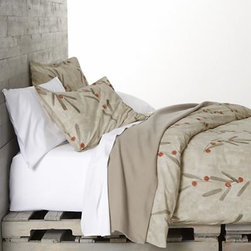 Osaka Full-Queen Duvet Cover - Center the bedroom in a Zen garden of neutral color and soft cotton percale. Deft brushstrokes sketch stems and leaves in earthy tones over a backdrop of modulated taupe, dotted with dabs of burnt orange berries. Duvet reverses to self and has a hidden-button closure. Duvet inserts also available.