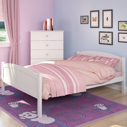 CorLiving - CorLiving Concordia White Solid Wood Double Bed - Enhance your child's sleeping space with this double bed from CorLiving. This bed features 12 slats for support so no box spring is needed, you can place your mattress directly on the sturdy wood slats.
