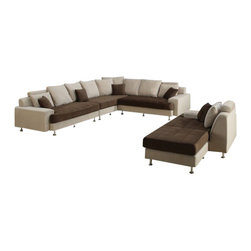 "ACPJ2020 - 3 pc 2 tone Ashley camel and chocolate microfiber upholstered sectional sofa - 3 pc 2 tone Ashley camel and chocolate microfiber upholstered sectional sofa with wide arms and chrome legs with modern styling. This set features sectional with wide arms and a 2 tone fabric design with chrome legs. Sectional measures 143"" x 112"" x 44"" D x 38"" H .  Optional stand alone chair and ottoman also available separately at additional cost.  Some assembly required."