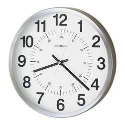Howard Miller - Howard Miller Easton Quartz Wall Clock - Howard Miller - Wall Clocks - 625207 - This modern wall clock is equally well suited to home or office and its spun nickel finish frame gives it a sleek profile look. Bold black numerals and an interior seconds track detail the white dial behind a glass crystal, and battery-operated quartz movement ensures consistent timekeeping.