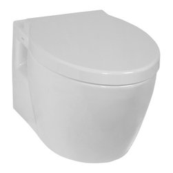 Vitra - Upscale Round White Ceramic Wall-Mounted Toilet with Seat - Upscale white ceramic wall hung toilet for bathroom with included seat.