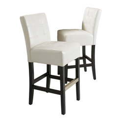 Great Deal Furniture - Bronson Ivory Leather Barstool (set of 2) - Add comfort to your home with our Bronson Leather Barstool. With its soft ivory bonded leather and well padded seat, this furniture makes an ideal seat for any get together. Built from solid hardwood with espresso stained legs, our Bronson barstool is build to last for years to come.