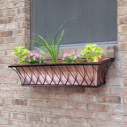 Copper Window Box Planter with Lattice Frame - Add the Copper Window Box Planter to your home for an elegant way to display flowers. Flower box is removable for cleaning and planting.