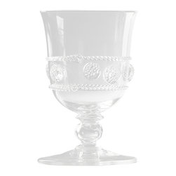 Isabella Tulip Footed Water Glass - Beautifully detailed with a frieze of swirling thread bands around evenly-spaced berries, the Isabella Tulip Footed Water Glass is a classic choice for formal presentations and elegant spreads.  This gleaming water goblet with its dimensional adornment effortlessly brings your table to a higher level of presentation, creating a look that is both polished and substantial for easy theming.