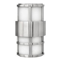 Hinkley Lighting - Saturn Small Outdoor Pocket Sconce - Measures: 7 1/4 in. W x 12 1/2 in. H x 4 in. Ext. Comes in Stainless Steel Finish with Etched Opal Glass. Requires 2-40w Candelabra Based Bulb(s).