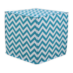 """Chooty - Chooty Zig Zag True Turquoise Collection 17"""" Square Seamed Foam Ottoman - Insert 100 High Density Foam, Fabric Content 100 Cotton, Color Turquoise, White, Hassock 1"""