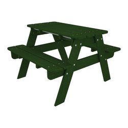 Kid's Picnic Table Green All Weather Outdoor Recycled Plastic Furniture - Th perfect child sized table for crafts, tea parties, and all their favorite outdoor activities.