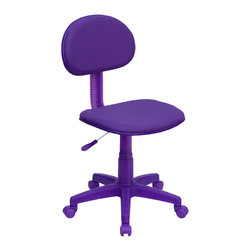 Flash Furniture - Flash Furniture Purple Fabric Ergonomic Task Chair - BT-698-PURPLE-GG - The perfect chair for any room in your home. Whether for the kids or for your home office, this chair will be a perfect addition. This chair will be a welcome and personal addition for any home office or home study area. [BT-698-PURPLE-GG]