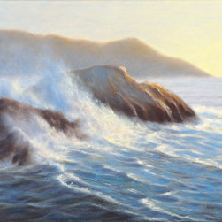 Rock Solid - This one of a kind, original seascape oil painting was painted on a 18×24 acid-free, triple-primed cotton gallery-wrapped canvas using Holbein oil paints.  The edges of the canvas are painted, so the painting can be hung as is or it can be framed.  Would look great in the home or office!