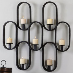 "Uttermost - Siete Wall Sconce - Hand Forged Metal With A Rustic Black Finish. Distressed, 3x3 Beige Candles Included. Uttermost's Mirrors Combine Premium Quality Materials With Unique High-style Design. Overall Dimensions: 6""D x 37.75""W x 37.75""H"