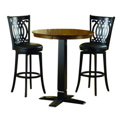 """Hillsdale Furniture - Hillsdale Dynamic Designs 3-Piece Pub Table Set with Van Draus Stools - Who says fabulous designer looks come only at designer prices? The Hillsdale furniture Dynamic Designs bistro collection offers any home owner the opportunity to add style to their homes without breaking the bank. The 36"""" diameter table is available  in either all brown cherry finish or in a two-toned brown cherry top with black base, lending itself to a myriad of looks as you choose the matching swivel stool that will best suit your home."""