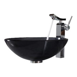 Kraus - Kraus Clear Black Glass Vessel Sink and Unicus Faucet Chrome - *Add a touch of elegance to your bathroom with a glass sink combo from Kraus