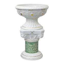 Renovators Supply - Planters White w/ Gold Ceramic Vase & Pedestal 26 H x 14 Dia - Pedetal Planters. Ceramic Pedestal & Vase make for luxurious decor indoor or out. Use this decorative column as a plant stand or other architectural element in a room, outside patio or balcony. Showcase a favorite plant or bouquet of flowers.