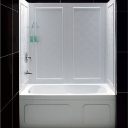 BathAuthority LLC dba Dreamline - QWALL-Tub BackWall Kit - DreamLine™ universal tub backwall panels provide a functional and beautiful solution for any bathroom renovation. The versatile tub wall panels are made of durable and easy-to-maintain Acrylic/ABS materials. For Flexibility, the easy-to-install backwall panels are engineered with a trim-to-size fit. The panels are uniquely designed to be installed over an existing solid surface (not directly to studs). With an attractive tile pattern, the panels are a cinch to maintain with no grout to clean. DreamLine offers a line of Kits that pair our most popular tub doors with our durable tub backwall panels. The convenient kits provide an efficient and cost-effective way to makeover your bathtub space without skimping on quality or style.
