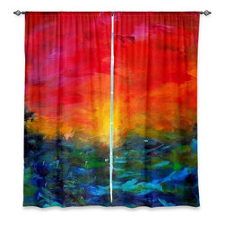 "DiaNoche Designs - Window Curtains Lined by Jackie Phillips Rainbow Sunset - DiaNoche Designs works with artists from around the world to print their stunning works to many unique home decor items.  Purchasing window curtains just got easier and better! Create a designer look to any of your living spaces with our decorative and unique ""Lined Window Curtains."" Perfect for the living room, dining room or bedroom, these artistic curtains are an easy and inexpensive way to add color and style when decorating your home.  This is a woven poly material that filters outside light and creates a privacy barrier.  Each package includes two easy-to-hang, 3 inch diameter pole-pocket curtain panels.  The width listed is the total measurement of the two panels.  Curtain rod sold separately. Easy care, machine wash cold, tumble dry low, iron low if needed.  Printed in the USA."