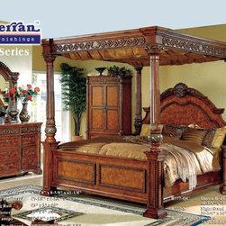 McFerran Home Furnishing - Dark Brown Queen Post Bed - B777-Q - McFerran Home Furnishing - Dark Brown Queen Post Bed - B777-Q