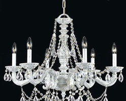 Crystorama Lighting Group - Hampton Antique White Ornate Chandelier Draped with Clear Hand Cut Crystal - -Features Swarovski Spectra Crystal  Crystorama Lighting Group - 5026-AW-CL-SAQ