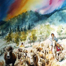 Sunrise Buffalo Hunt - Original Watercolor Painting - Over the years I have had collectors from Germany showing interest in the Native American pieces.  When I asked one older gentleman why that is so, he said their fascination with Native culture is due in large part to Karl May, the best-selling German author of all time. In 1892, May published the first of many books about a fictional Apache warrior named Winnetou and his German blood brother, Old Shatterhand.