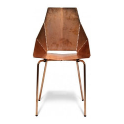 Blu Dot Real Good Chair - Copper - Now available in a copper plated finish that is intended to patina naturally with handling and age for a unique look. The Real Good Chair ships flat and folds along laser-cut lines to create a dynamic and comfortable chair. As skinny as a supermodel yet far more sturdy.