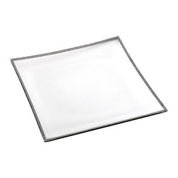 """Alan Lee Collection - Princess Collection Glass Square Tray - A wonderful way to serve appetizers or desserts for your guest. A band of hand applied cut crystals accent the outer edge of this 14"""" x 14"""" glass tray. Bringing elegance and brilliance to your serving.  *Not recommended for serving hot items."""