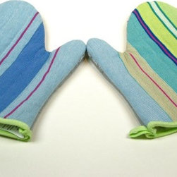 Fabric Oven Mitts - These eclectic oven mitts add a healthy dose of color and some fun stripes to the kitchen. Price is for one.