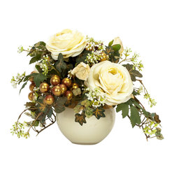 Hand Crafted Iron Bugle Clock Silk Flower Arrangement - White done right. This silk floral arrangement lets you enjoy gorgeous blooms year-round without having to get your thumbs green.