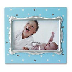 Lawrence Frames - 4x6 Blue Polka Dot Wood Picture Frame with Silver Inner Frame - Fabulous  4x6 decorative blue polka dot picture frame with silver leaf inner frame.  High quality black wood backing with easel for table top display.  Individually boxed.