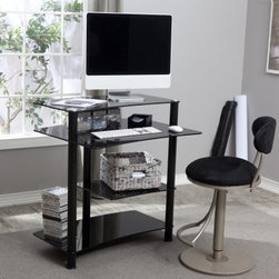 Black Glass Mini Computer Desk - Advertise your technological savvy with the RTA Home and Office Black Glass Computer Desk. Made of thick black tempered glass shelves supported by round aluminum tubes this compact desk has a decidedly modern style. Each component of your computer has its own special shelf. The monitor perches on top with a deeper keyboard tray below. Underneath is a convenient place for your CPU and another shelf for your printer; everything is neatly tucked away but still easily accessible. The glass shelves have a curve to them so you will have plenty of room to scoot your chair up and get to work comfortably. This desk is easy to assemble and backed by a one-year limited warranty.About RTA Home and OfficeIf you've decided to outfit your home or office with sleek modern style look no further than the RTA Home and Office product line. Based in Springfield Missouri RTA Home and Office Inc. was founded in 2001 and specializes in the manufacturing and distribution of high-quality tempered glass and polished aluminum TV stands desks and tables. All of the tempered glass shelves table tops and desk tops have smooth rounded edges for safety. Incredibly strong and durable these strikingly contemporary pieces will add high-tech style and design to a variety of home settings.