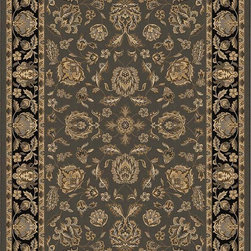 """Orian - Orian American Heirloom Istahan (Charcoal) 3'11"""" x 5'5"""" Rug - American Heirloom Collection, Orian Rugs' flagship collection is inspired by classic, hand-woven oriental rugs that combine understated elegance with classic style. The 1.5 million point design construction is densely woven with Orian's finest-denier yarns creating unparalleled visual dimension and pin point design clarity."""