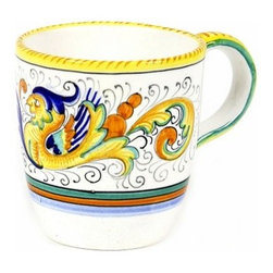 Artistica - Hand Made in Italy - RAFFAELLESCO: Mug - RAFFAELLESCO Collection: Among the most popular and enduring Italian majolica patterns, the classic Raffaellesco traces its origin to 16th century, and the graceful arabesques of Raphael's famous frescoes.