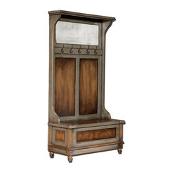 Matthew Williams - Matthew Williams Riyo Hall Tree X-16552 - Honey stained, solid mango wood with hand painted, distressed charcoal gray accents, aged brass coat hooks and antiqued mirror. Seat lifts with safety hinge for storage.