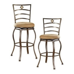 Hillsdale - Hillsdale Marin Swivel Stool - Upholstered in a soothing beige microfiber and finished in flecked brown, swivel stool features a traditional slat back accented by a fossil stone filled diamond motif. Slight assembly required.