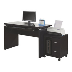 Monarch Specialties - Monarch Specialties 7003 3-Piece Office Suites in Cappuccino - Sleek and contemporary, this cappuccino desk is the perfect combination of function, durability and design in a modern form. With clean lines and thick panels, this desk will add style to any home office. Features a large size pull out keyboard tray with room for a mouse. A large desktop surface provides plenty of room for all your hardware and working needs. Coordinate with matching bookcase and mobile stand for ultimate organization.