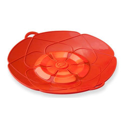 "Kuhn Rikon - Kuhn Rikon Spill Stopper Over Boil Protector 10"" Red - Sick of pot watching? The Kuhn Rikon Spill STOP prevents pasta, soups and other dishes from boiling over. This heavy silicone Spill STOP in Red traps excess foam and liquid so it doesnt spill all over your stove. Set your timer, cover pot with Spill STOP and go blissfully about your business. Also know as Kochblume which translates to Cooking Flower in German.   Spill STOP Features:  Perfect for pasta, rice, soups, milk and starchy liquids  German invented and designed  Color: Red Microwave and dishwasher safe  Use as both a lid and a splatter guard  Fits pots and pans 5 1/2"" to 9"" in diameter  Made of heavy silicone that's heat resistant up to 400 degrees"