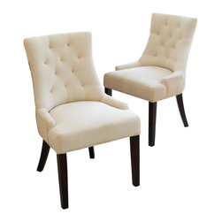 Great Deal Furniture - Janelle Tufted Fabric Dining Chairs (Set of 2) - The features of the Janelle Tufted Chair make this piece suitable as a dining chair or as an accent chair. It is upholstered in cotton linen blend fabric with a diamond shaped tufted backrest that contours the body for added comfort. The innovative design compliments any room that these chairs are placed in.
