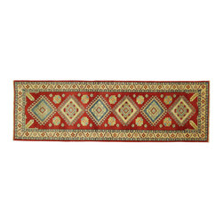 Manhattan Rugs - New Hand Knotted Geometric Super Kazak Runner 3'x9' Oriental Red Wool Rug H3371 - Kazak (Kazakh, Kasak, Gazakh, Qazax). The most used spelling today is Qazax but rug people use Kazak so I generally do as well.The areas known as Kazakstan, Chechenya and Shirvan respectively are situated north of� Iran and Afghanistan and to the east of the Caspian sea and are all new Soviet republics.�� These rugs are woven by settled Armenians as well as nomadic Kurds, Georgians, Azerbaijanis and Lurs.� Many of the people of Turkoman origin fled to Pakistan when the Russians invaded Afghanistan and most of the rugs are woven close to Peshawar on the Afghan-Pakistan border.There are many design influences and consequently a large variety of motifs of various medallions, diamonds, latch-hooked zig-zags and other geometric shapes.� However, it is the wonderful colours used with rich reds, blues, yellows and greens which make them stand out from other rugs.� The ability of the Caucasian weaver to use dramatic colours and patterns is unequalled in the rug weaving world.� Very hard-wearing rugs as well as being very collectable
