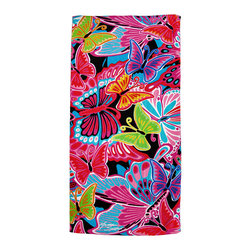 Zeckos - Colorful Butterfly Collage Cotton Beach Towel - This beautifully vibrant beach towel depicts brightly colored butterflies more captivating than any found in nature. The bright colors of the festive bugs range from red, pink, yellow, and orange to purple, blue, turquoise, and green; completely spanning the color spectrum. The bright creatures won't fade even in a machine wash cycle. This remarkable beach towel makes a great cover to sit on a sandy beach as it stretches out 60 inches long and 31 inches wide. The stunning towel will draw the admiration of everyone at the beach and perhaps the jealousy of other butterflies.