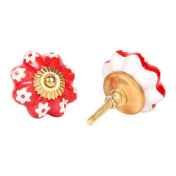 MarktSq - Melon Shaped Ceramic Knobs (Set of 4) - Beautifully painted melon shaped knob with flower on a red background and golden hardware.