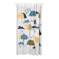 Danica Studio - Umbrella Shower Curtain - Is it raining in here, or is it your shower curtain? Actually, if you're running your shower, it's both. No umbrella is going to save you from the jet blast of your shower head, but with this shower curtain ... well, at least you know what you're getting into.