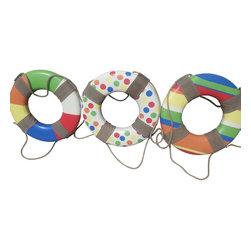 Three Colorful Beach Theme Life Rings - Three Colorful Beach Theme Life Rings