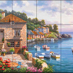 The Tile Mural Store (USA) - Tile Mural - Sk - Harbor Garden - Kitchen Backsplash Ideas - This beautiful artwork by Sung Kim has been digitally reproduced for tiles and depicts several boats docked at this seaside village.  Waterview tile murals are great as part of your kitchen backsplash tile project or your tub and shower surround bathroom tile project. Water view images on tiles such as tiles with beach scenes and Mediterranean scenes on tiles Tuscan tile scenes add a unique element to your tiling project and are a great kitchen backsplash idea. Use one or two of our landscape tile murals for a wall tile project in any room in your home for your wall tile project.