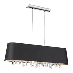 Dainolite - Dainolite BAR3410-694-PC 4 Light Horizontal Crystal Chandelier Pc Finish - Dainolite BAR3410-694-PC 4 Light Horizontal Crystal Chandelier PC Finish Black Baroness Fabric Silver Lining