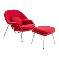 Modway Furniture - Modway W Lounge Chair in Red - Lounge Chair in Red belongs to W Collection by Modway Concerted efforts run deep in the expansively designed Womb Chair. First intended as a chair you ��_��_��_��_��_can curl up in,��_��_��_��_��_ it has since become a symbol for organic living. The natural motif portrays growth amidst silent resolve. Perhaps this is what makes the Womb both a reception and a lounge chair. Each of us would like to find our place as it were. Whether this means feeling welcomed in by the reception halls of businesses, or feeling welcome to relax into our own homes. While mid-century modernism showed us how to embark into the age of discovery, this finely upholstered classic taught us how to contemplate upon it. The shell of the Womb chair is made of molded fiberglass with foam padding. The legs are stainless steel and come with foot caps to prevent scratching on floors. Set Includes: One - Matching Ottoman One - W Lounge Chair Lounge Chair (1)